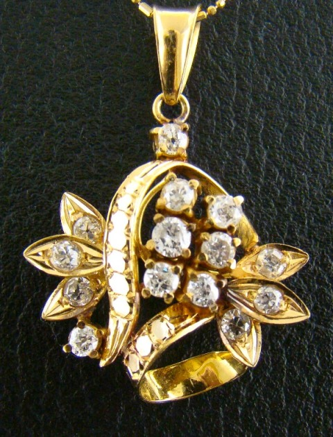 "ANTIQUE 20K GOLD ""ROSE CUT"" DIAMOND PENDENT"